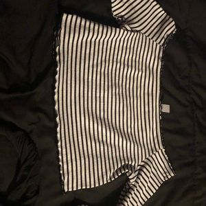 Black and White striped off the shoulder crop top